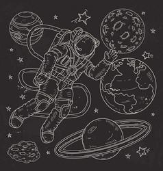 astronaut spacemanflies in vector image