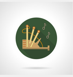 Bagpipe melody green round icon vector