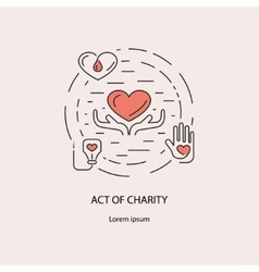 Banner with act charity symbols vector