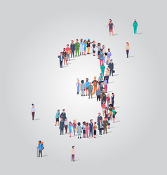 big people crowd forming number three 3 shape vector image