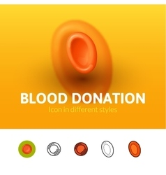 Blood donation icon in different style vector image