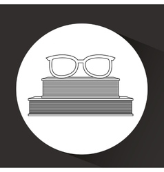books and glasses design vector image