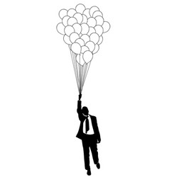 Businessman flying with balloons vector