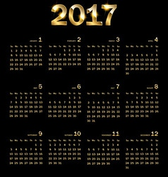 Calendar 2017 Golden abstract background vector