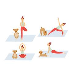 cartoon girl doing yoga with her dog - cute pet vector image