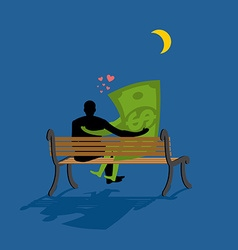 Cash Lovers looking at stars Date night Man and vector image