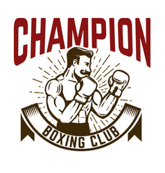 champion boxing club vintage style boxer fighter vector image