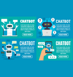 Chatbot banner set flat style vector