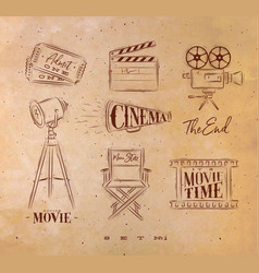cinema symbols craft vector image