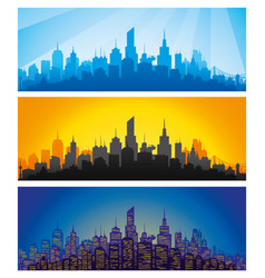 City at different times of day vector