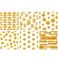 collection seamless patterns gold bitcoin coins on vector image