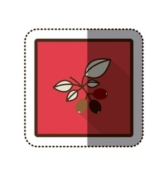 Color sticker silhouette in square frame with vector