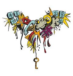 Colorful grunge grafitti vector image