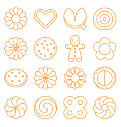Cookie cracker and biscuit outline icon set 3 vector