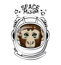 Cool monkey on astronaut helmet print for t shirt vector