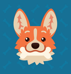Corgi dog emotional head with bone in mouth vector