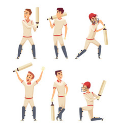 cricket characters set of various sport players vector image