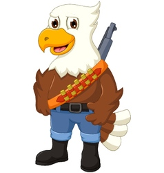Cute eagle cartoon posing with rifle vector