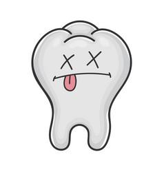 Dead funny cute tooth cartoon vector
