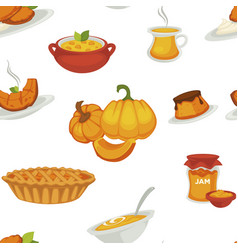 Delicious pumpkin dishes for main course vector