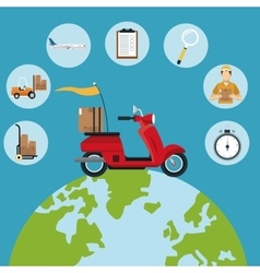 Delivery concept red motorcycle globe set icons vector