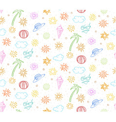 Doodle colorful summer vacation seamless pattern vector