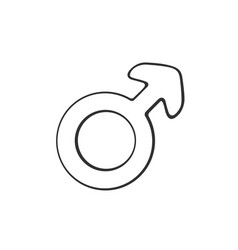doodle male mars symbol vector image