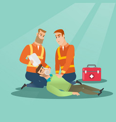 emergency doing cardiopulmonary resuscitation vector image