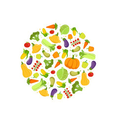 Farm fresh colorful vegetables in circular shape vector