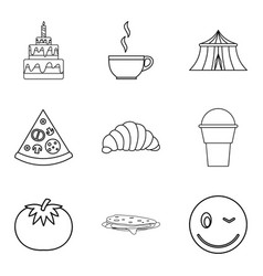 Festive cooking icons set outline style vector