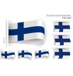 Flag tag clothes label sticker sewn set finland vector