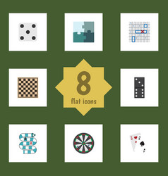 flat icon play set of jigsaw backgammon arrow vector image
