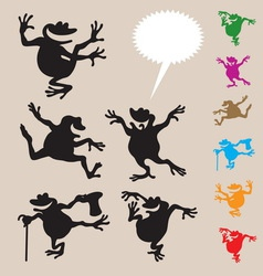 Frog Dancing Silhouettes 2 vector image