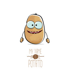 Funny cartoon cute brown potato isolated on vector
