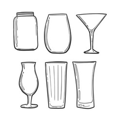 glasses set sketch glasses in black strokes to vector image
