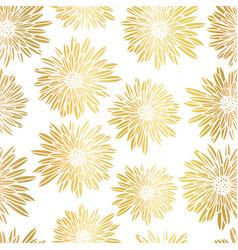 Gold foil aster dahlia flowers elegant seamless vector