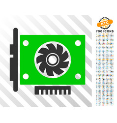 Gpu card flat icon with bonus vector