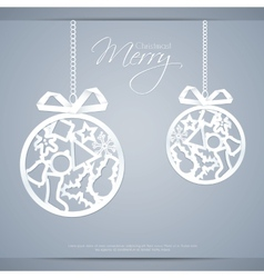 Greeting card with paper christmas balls vector