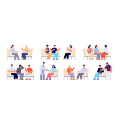 group therapy people sitting chairs person vector image