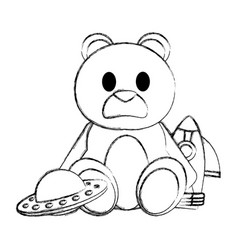 Grunge teddy bear with rocket and ufo toys vector
