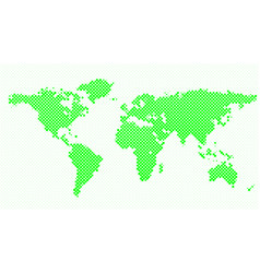 Halftone world map background with dots vector