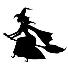 Halloween witch silhouette on broom vector