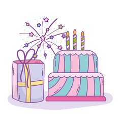 Happy birthday cake with candles and gift box vector