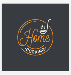 home cooking logo round linear ladle on black vector image
