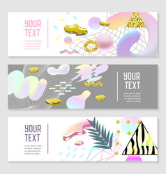 horizontal banners set with gold glitter vector image