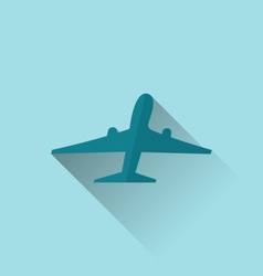 Icon of aircraft with long shadow modern flat vector