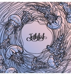 Jellyfish design in line art style vector image
