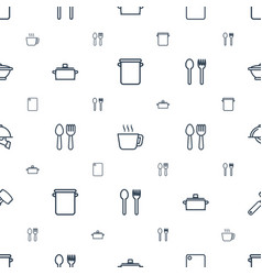 Kitchen icons pattern seamless white background vector