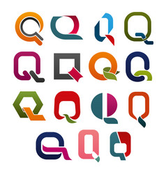letter q icon for business identity alphabet font vector image