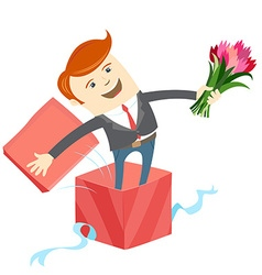 Man in big gift box with bunch of flowers vector image
